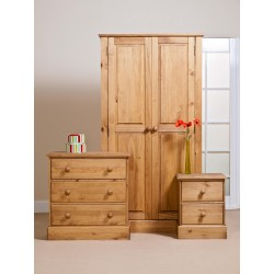 Cotswold Bedroom Set - Wardrobe - Chest - Bedside in Waxed Pine