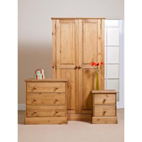 Cotswold Bedroom Set - Wardrobe - Chest - Bedside in Waxed Pine