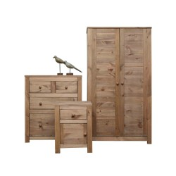 Bedroom Set - Wardrobe - Chest of Drawers - Bedside Cabinet in Waxed Pine