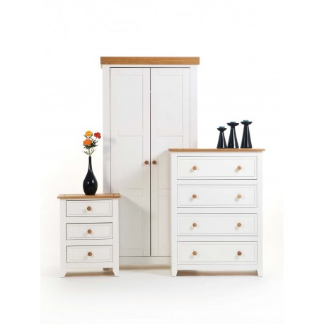 Capri Bedroom set of 3 Piece - Wardrobe, Chest of Drawers & Bedside Cabinet