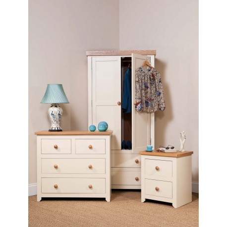 Jamestown Cream & Pine Trio Bedroom set - Wardrobe, Chest of Drawer & Bedside Cabinet