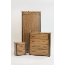 Forge Antique 3 Piece Bedroom set - Wardrobe, Chest of Drawers & Bedside Cabinet