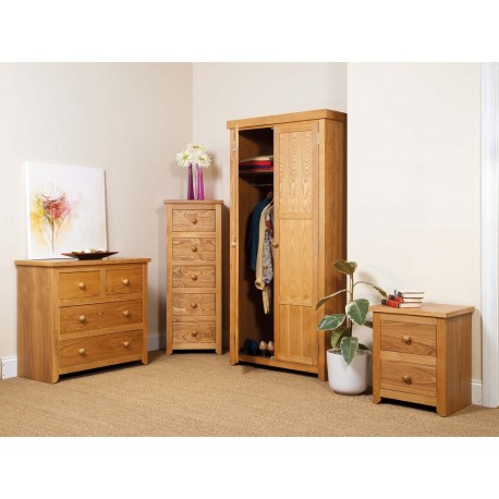 Hamilton 3 Piece Bedroom Set - Wardrobe, Chest of Drawers, Bedside Cabinet
