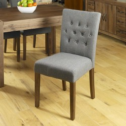 Walnut Upholstered Dining Chair - Slate (Pack Of Two)