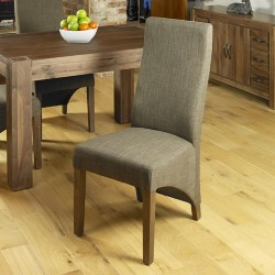Walnut Full Back Upholstered Dining Chair - Chocolate (Pack Of Two)