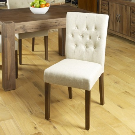 Walnut Flare Back Upholstered Dining Chair - Biscuit (Pack Of Two)