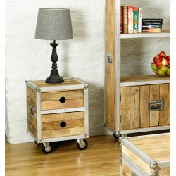 Roadie Chic Lamp Table / Bedside Table (with two drawers)