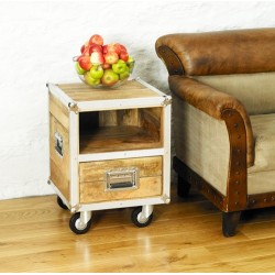 Roadie Chic Lamp Table / Bedside Table (with one drawer)