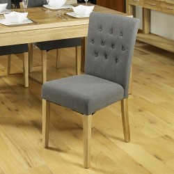Oak Upholstered Dining Chair - Slate (Pack Of Two)