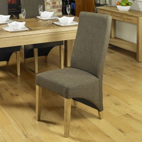 Oak Full Back Upholstered Dining Chair - Chocolate (Pack Of Two)