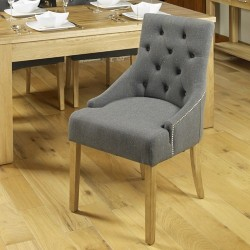 Oak Accent Upholstered Dining Chair - Stone (Pack Of Two)