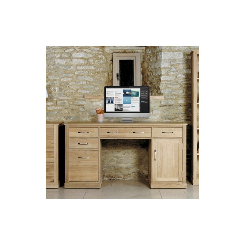 mobel oak twin pedestal computer desk loading zoom
