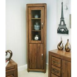Mayan Walnut Glazed Corner Display Cabinet